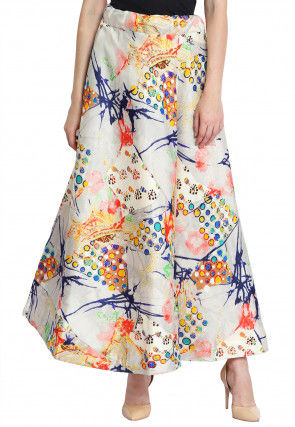Digital Printed Art Silk Skirt in Multicolor