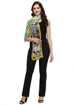 Digital Printed Art Silk Stole in Off White and Multicolor