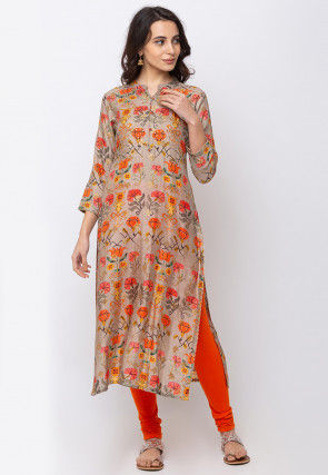 Digital Printed Art Silk Straight Kurta in Beige