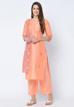 Digital Printed Art Silk Straight Kurta in Orange