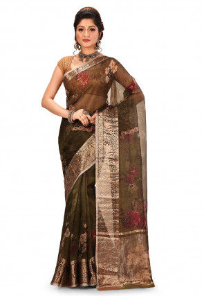 Digital Printed Banarasi Pure Organza Saree in Dark Olive Green