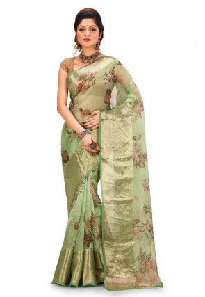 Digital Printed Banarasi Pure Organza Saree in Light Green