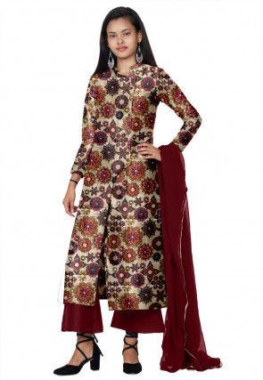 Digital Printed Bhagalpuri Silk Pakistani Suit in Beige