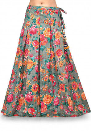 Digital Printed Bhagalpuri Silk Skirt in Grey