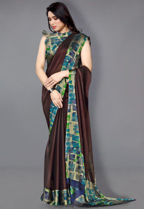 Digital Printed Border Satin Chiffon Saree in Brown