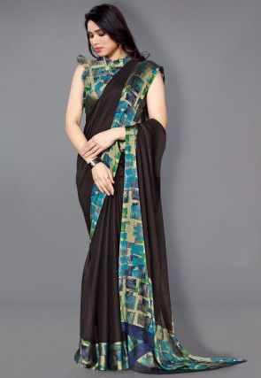 Digital Printed Border Satin Chiffon Saree in Dark Brown