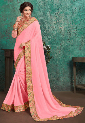 Digital Printed Border Satin Georgette Saree in Baby Pink