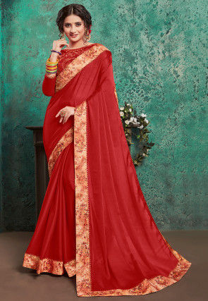 Digital Printed Border Satin Georgette Saree in Red