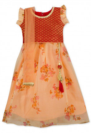Digital Printed Brocade Lehenga in Red