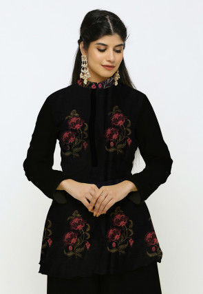 Digital Printed Chanderi Cotton Peplum Style Kurti in Black