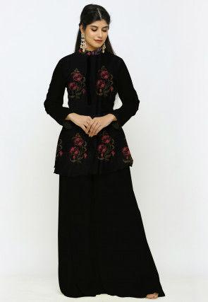 Digital Printed Chanderi Cotton Peplum Style Kurti Set in Black