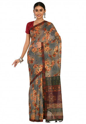 Digital Printed Chanderi Cotton Saree in Beige and Grey