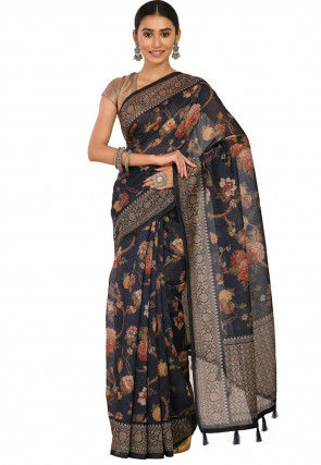 Digital Printed Chanderi Cotton Saree in Navy Blue