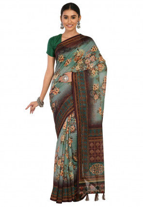 Digital Printed Chanderi Cotton Saree in Shaded Dusty Green