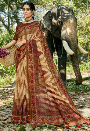 Digital Printed Chanderi Silk Saree in Beige and Brown