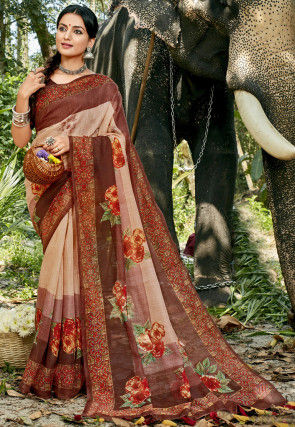 Digital Printed Chanderi Silk Saree in Light Beige and Brown