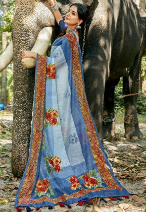 Digital Printed Chanderi Silk Saree in Light Blue