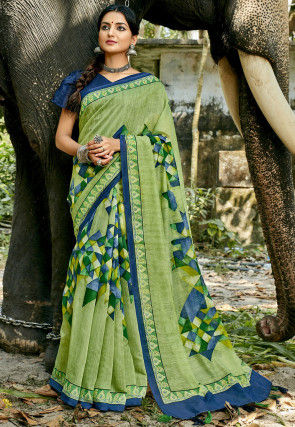 Digital Printed Chanderi Silk Saree in Light Green