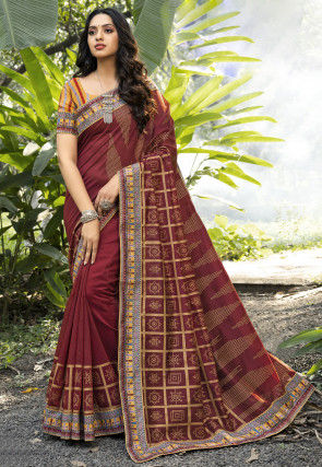 Digital Printed Chanderi Silk Saree in Maroon