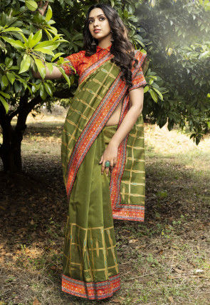 Digital Printed Chanderi Silk Saree in Olive Green
