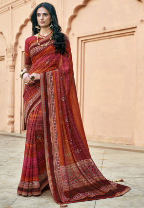 Digital Printed Chanderi Silk Saree in Red and Orange