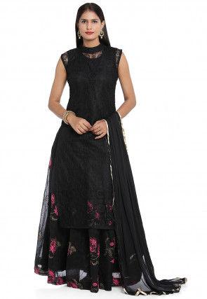 Digital Printed Chantelle Net Lehenga in Black