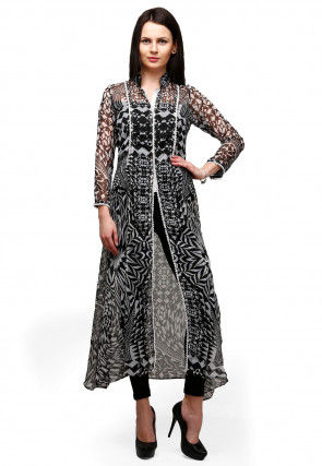 Digital Printed Chiffon A Line Kurta in Black and Off White
