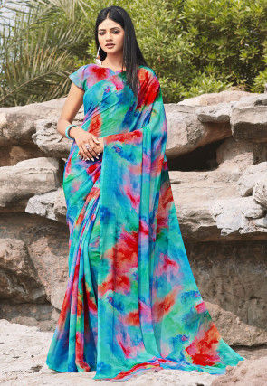 Digital Printed Chiffon Saree in Blue and Red