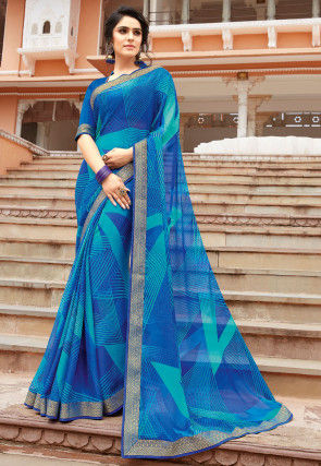 Digital Printed Chiffon Saree in Blue