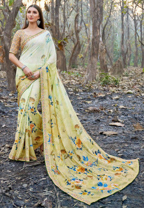 Digital Printed Chiffon Saree in Dusty Light Green