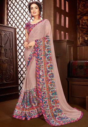 Digital Printed Chiffon Saree in Dusty Peach
