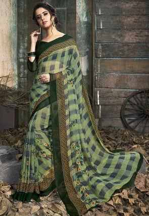 Digital Printed Chiffon Saree in Green