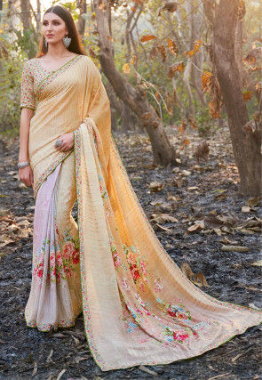 Digital Printed Chiffon Saree in Light Beige and Pink