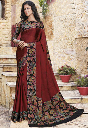 Digital Printed Chiffon Saree in Maroon