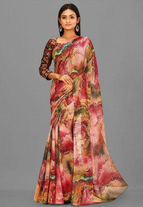 Digital Printed Chiffon Saree in Multicolor