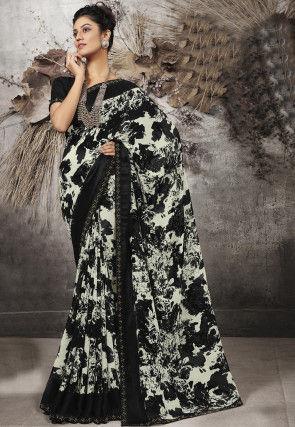 Digital Printed Chiffon Saree in Off White and Black