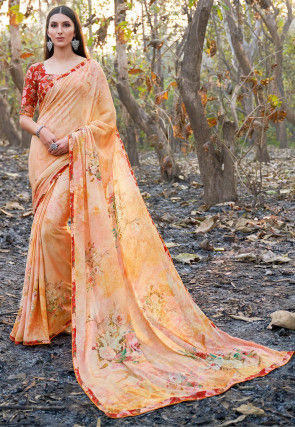 Digital Printed Chiffon Saree in Peach