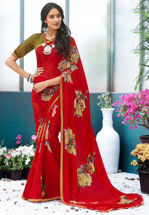 Digital Printed Chiffon Saree in Red