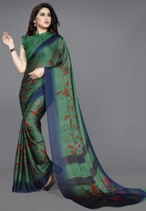 Digital Printed Chiffon Saree in Teal Green