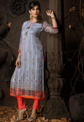 Digital Printed Chiffon Straight Kurta in Grey