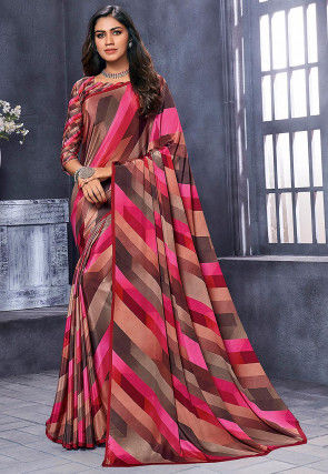 Digital Printed Chinon Crepe Saree in Multicolor