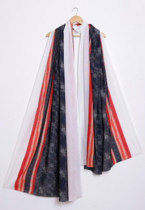 Digital Printed Cotton Dupatta in Black