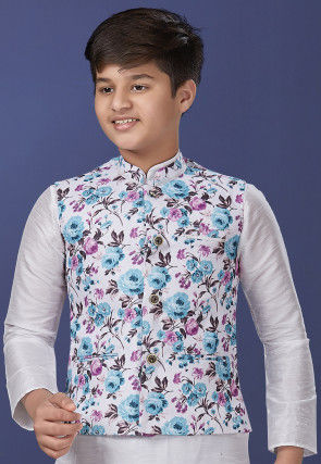 Digital Printed Cotton Jacket in White