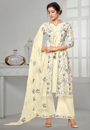 Digital Printed Cotton Jacket Style Pakistani Suit in Cream