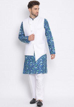 Digital Printed Cotton Kurta Jacket Set in Blue