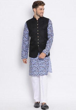 Digital Printed Cotton Kurta Jacket Set in White