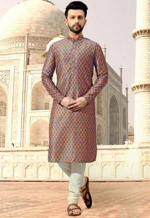 Digital Printed Cotton Kurta Set in Beige