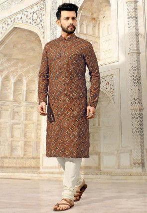 Digital Printed Cotton Kurta Set in Brown