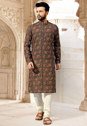Digital Printed Cotton Kurta Set in Dark Grey and Beige