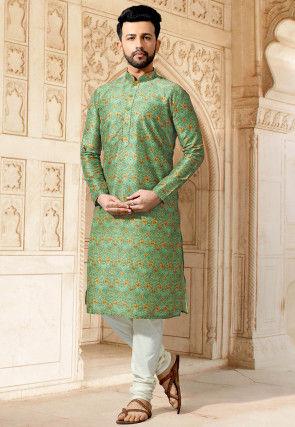 Digital Printed Cotton Kurta Set in Light Green